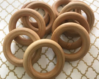 """2.5"""" or 3"""" Set of 10 ORGANIC Finished Wood Rings for Baby Teething Rings Wooden ring sealed w/ 100% Organic Beeswax / Coconut Oil CPSIA BULK"""