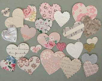 Adhesive Ephemera Hearts Die Cut Stickers Made from Vintage Wallpaper Foil Script (24)