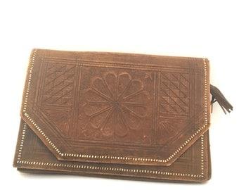 Imitation leather vintage clutch