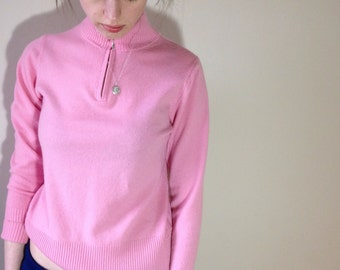 80s cashmere zip neck candy pink sweater Size 8/10/12