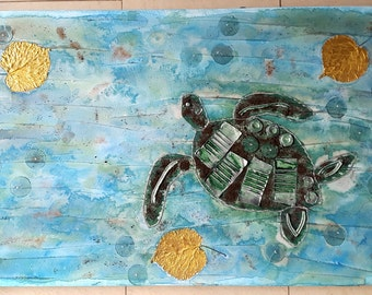Acrylic painting canvas 80 x 50 x 4 Upcycling collage structures turtle
