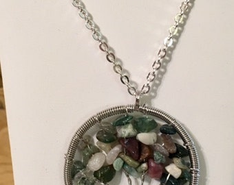 USA FREE Shipping-Fancy Jasper Silver Plated Brass Tree of Life Necklace