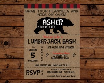 Rustic LumberJack Birthday Invitation, Black Bear Birthday Invitation, Lumberjack Plaid Invitation, Lumberjack Bash Birthday, Bear Party