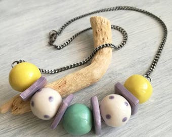 Ceramic beads necklace violet, yellow, teal