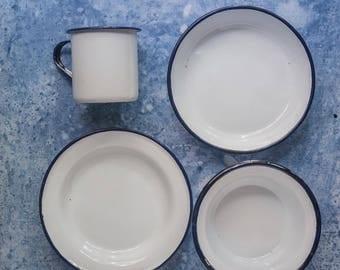 Four piece enamel set