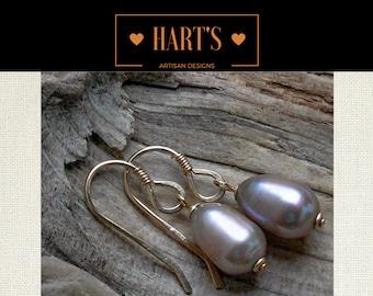 Fawn Beige Pearl 14K Gold Earrings