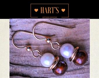Copper Pearl 14K Earrings