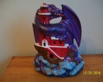Dragon With lighthouse - Hand Painted Ceramic Bisque Lighted