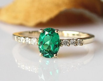 Handmade Ring!!!May Birthstone Emerald Ring 5x7mm Oval Emerald Engagement Ring 14k Yellow Gold Anniversary Ring Wedding Ring Promise Ring