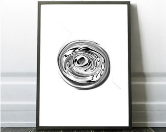 Abstract Decor, Black and White Abstract, Modern Print Decor, Black Hole Abstract, Space Abstract, Abstract Art Trends, Minimalist Wall Art