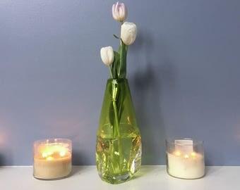 Large Crystalline Vase - Lime