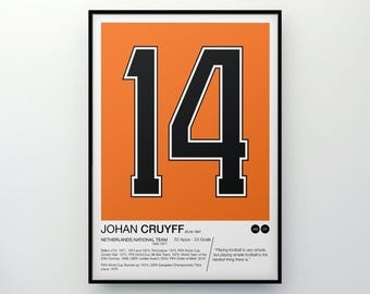 Johan Cruyff - #14 - Netherlands National Team - Poster Print