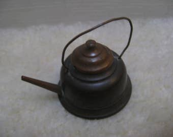 For the dollhouse ... french antique brass miniature coffee can with lid around 1880!