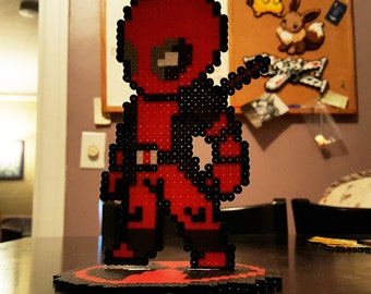 Deadpool that stands done in perler bead