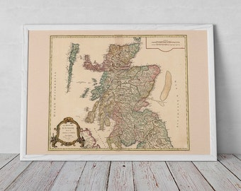 Antique Map of Scotland | Giclée Reproduction, antique wall art, home decor of Historic Scotch Wall Art from French Cartography > from 1751