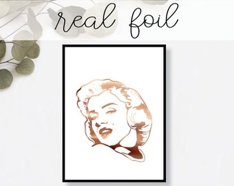 Marilyn Monroe Print // Real Gold Foil // Minimal // Gold Foil Art Poster // Home Decor // Modern Office Print // Hollywood Icon // Fashion