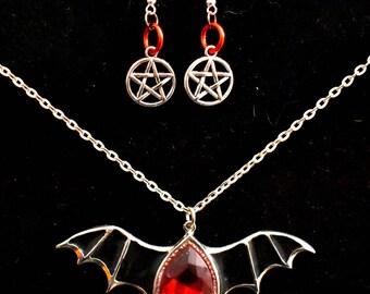 Pagan Jewelry Set, Witchcraft, Pentagram, Witch Jewelry