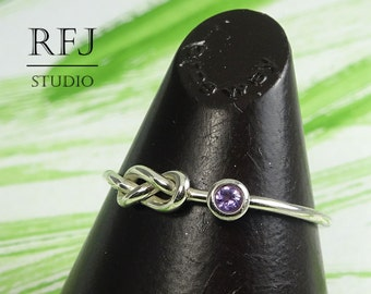 Natural Amethyst Infinity Knot Ring, Silver Eternity Knot Ring 2 mm Round Cut Purple February Birthstone Ring, Love Promise Friendship Ring