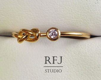 Rose Gold  Lab Pink Diamond Infinity Knot Ring, Double Knot 14K Rose Gold Plated Ring, 2mm CZ Love Promise Friendship Infinity Gold Ring