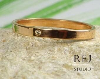 14K Rose Gold  Lab Cognac Diamond Skinny Band, April Gemstone 14K Rose Gold Plated Ring 1.25 mm Round Cut Cognac CZ Band, 2 mm Gold Band