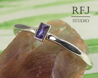 Petite Baguette Lab Amethyst Faceted Silver Ring, February Birthstone Baguette Cut Purple CZ Promise Ring 3x1.5mm Rectangle Baguette CZ Ring