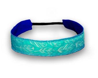 Cotton Headband - Teal & Blue Feathers