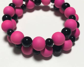 Hot Pink and Black Memory Wire Bracelet