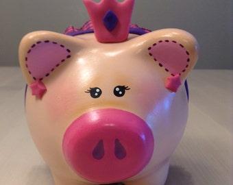 Hand-painted princess piggy bank