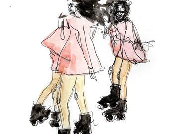 Skating Girls Watercolor Art Print