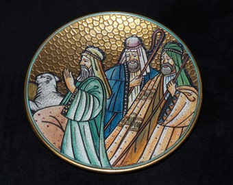 """1972 Veneto Flair Christmas """"The Shepherds"""" Hand Etched Christmas Plate by V. Tiziano"""