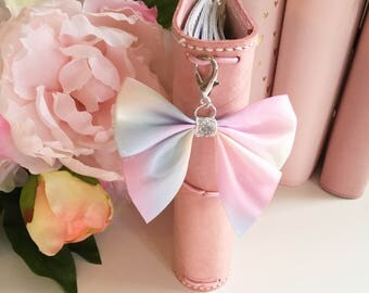 Pastel haze planner bow paperclip  and TN charm