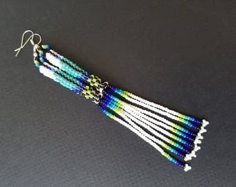 Seed bead earrings, huichol earrings, native American earrings, beaded earrings, long earrings