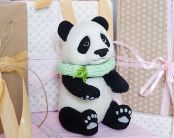 Needle felted panda, Needle felted animal, Birthday gift, Gift for her, Felt animal, Needle felt, Gift idea, Home decor, Panda gifts, Felt
