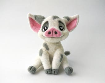 Needle felted pig inspired Pua Moana, Needle felted animal, Animal gift, Needle felt, Gift idea, Felting wool, Wool felt, Home decor, Felt