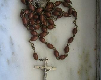 Vintage Brown Plastic Beaded Rosary