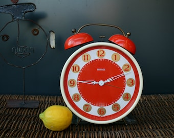 Oversized orange alarm clock, West Germany, 1970s