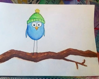 Custom Watercolor Winter Bird