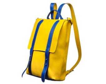 Big backpack leather backpack yellow backpack blue backpack woman rucksack handmade backpack city backpack origanal backpack square backpack