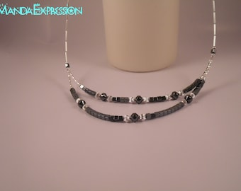 Hematite and Sterling Silver necklace, Native American Jewelry, Hematite