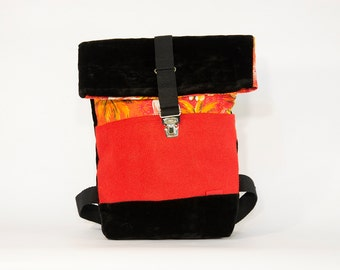 SUEDE TROPICAL backpack small / Upcycling bagpack