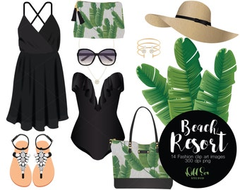 Black and Green Tropical Beach Resort Fashion Clipart set, Dress, Swimsuit, Sandals, Palm Leaves