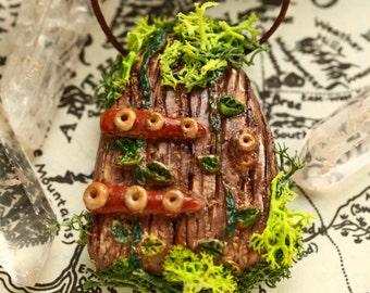 SALE Faerie Door Magical Fantasy Moss Necklace, OOAK, Polymer Clay Fairy Door Pendant