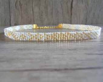 2-in-1 necklace neck, Choker, necklace, Bracelet 2 lap Ras woven white and gold