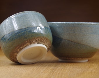 Set of Two Ceramic Bowls Handmade in Stoneware, Pottery Bowls, Tea Bowls, Rice Bowls, Nesting Bowls