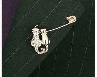 Sale~Clearance~Handcrafted Two Cats Safety Pin Brooch~4.8Cm Long Pin