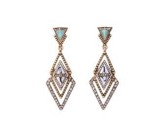 Geometric Crystal & Gold Drop Earrings