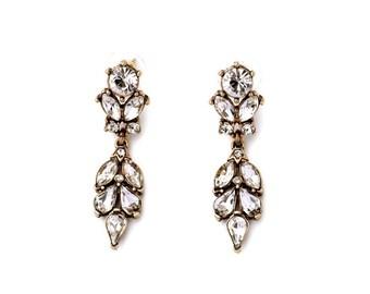 Antique Crystal Floral Drop Earrings