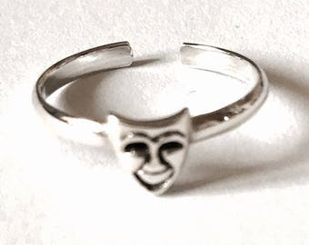 Sterling Silver Theatre Symbol Toe Ring