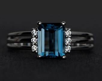 London blue topaz ring blue topaz rings engagement ring blue gemstone ring emerald cut blue topaz ring silver