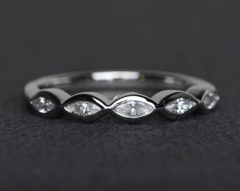 wedding bands silver zircon ring marquise cut gemstone ring bands with cz